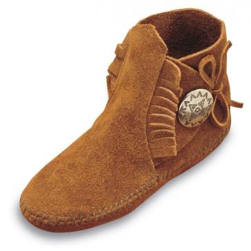 Minnetonka - Children's Side Tie Button Boot Brown