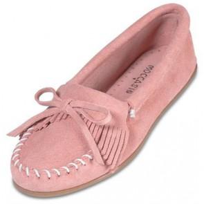 Minnetonka - Women's Kilty Suede Hot Pink