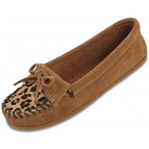 Minnetonka - Women's Leopard Kilty Suede Taupe